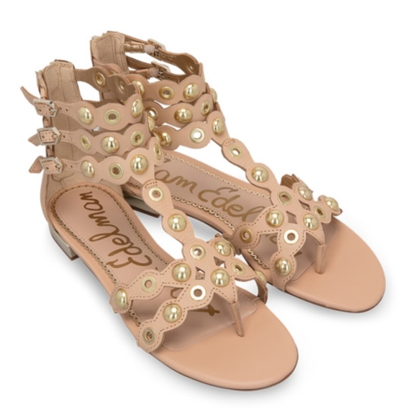 1afb417b88571 Sam Edelman Leather Studded Desi Gladiator Sandal